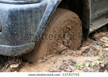 Car's wheels in mud in the forest, off-road - stock photo