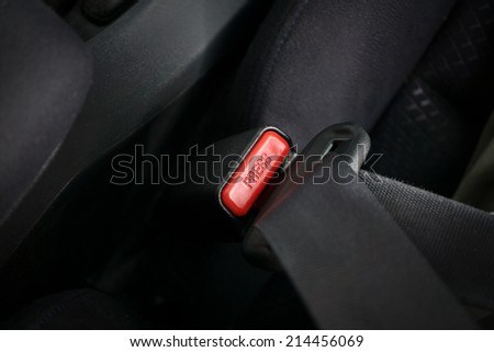 Car safety concept illustrated with fasten seatbelt - stock photo