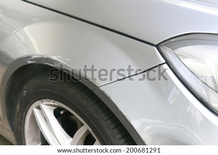 car scratched from the accident - stock photo