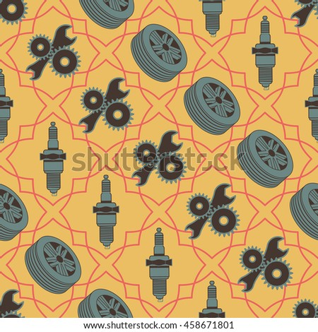 Car seamless pattern of motor vehicle parts spark plug wheels and tools. Rasterized version - stock photo