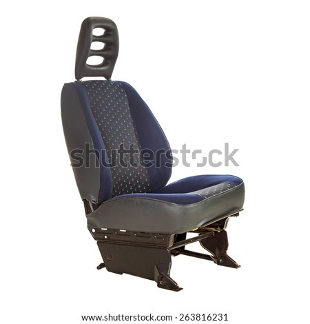 Car seat with headrest isolated over white - stock photo