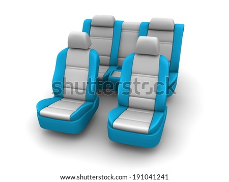 Car seats on white background