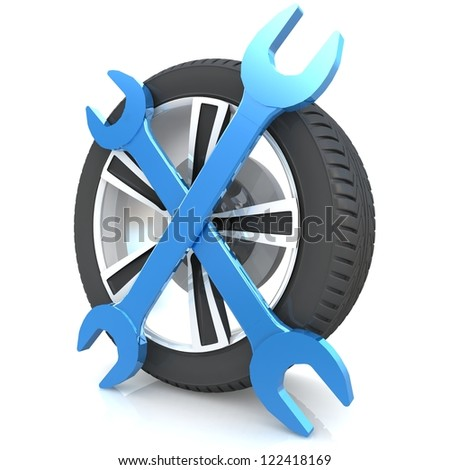 Car service concept. Wheel and Tools. Isolated 3D image - stock photo
