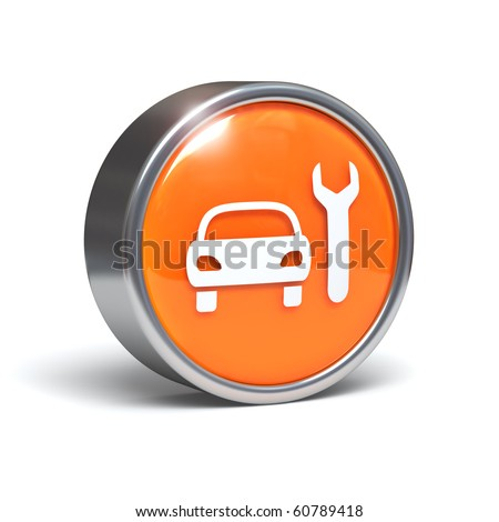 Car service icon. Auto mechanic sign. Automotive repair symbol. Vehicle and spanner. 3D button with clipping path