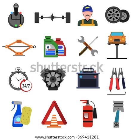 Car Service Icons Flat Set - stock photo