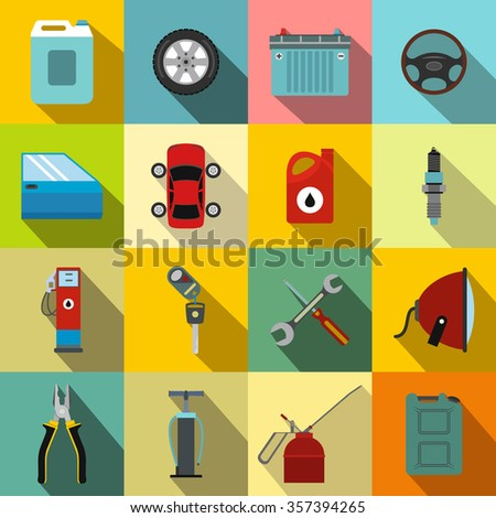 Car service maintenance flat icons set for web and mobile devices - stock photo