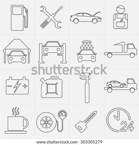 Car service maintenance icon set.
