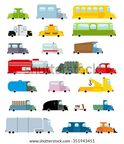 Car set cartoon style. Big transport icons collection. Ground set vehicles. Ambulance and school bus. Scooter and fire truck. Police car and a hearse. Childrens vehicles - stock photo