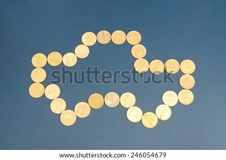 Car shaped from coin - stock photo