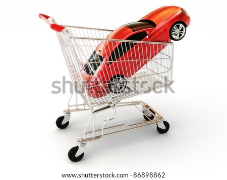 Car shopping, red luxury sports car in a shopping basket. Part of a series - stock photo