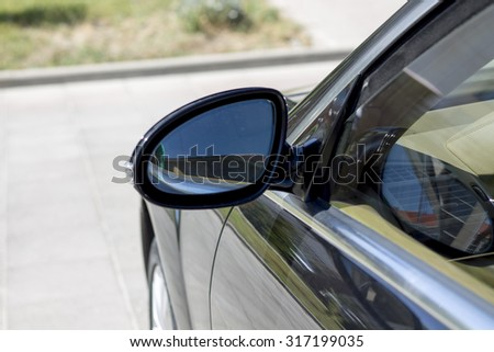 car side mirror - stock photo