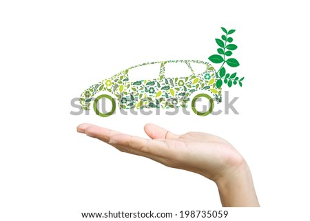 Car silhouette with green leaves - stock photo
