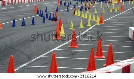 car slalom race course circuit - stock photo
