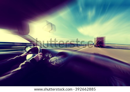 Car speed concept.Travel and travel - stock photo
