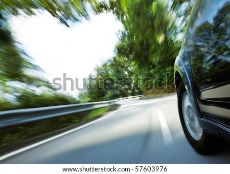 car speeding with heart shape copy space beside - stock photo