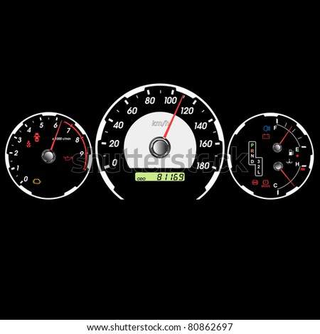 Car speedometer and dashboard at night.  illustration