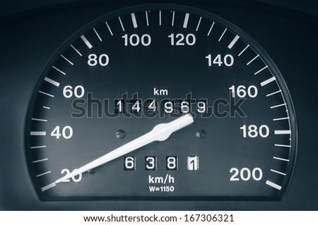 Car speedometer closeup. - stock photo