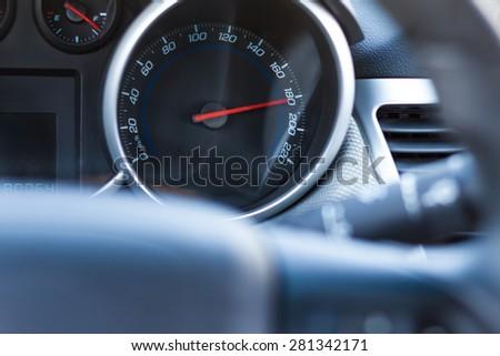 Car speedometer. Dangerous driving concept - stock photo
