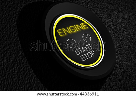 car start and stop  button on a black dashboard
