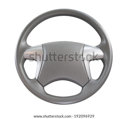 car steering wheel isolated on white background. - stock photo