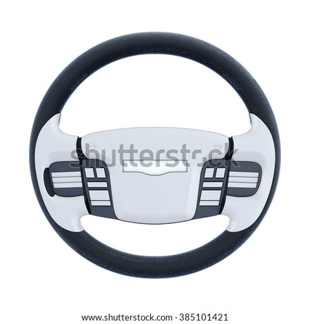 Car steering wheel isolated on white background. 3d rendering. - stock photo