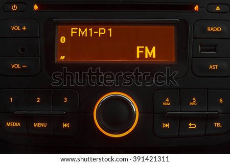 Car stereo night - stock photo