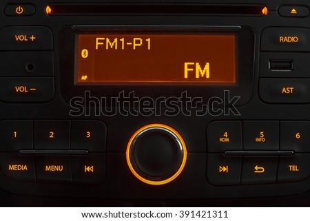 Car stereo night - stock photo
