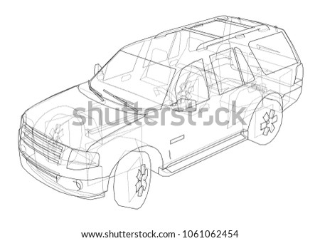 Car suv drawing outline 3 d illustration stock illustration car suv drawing outline 3d illustration sketch or blueprint malvernweather Image collections