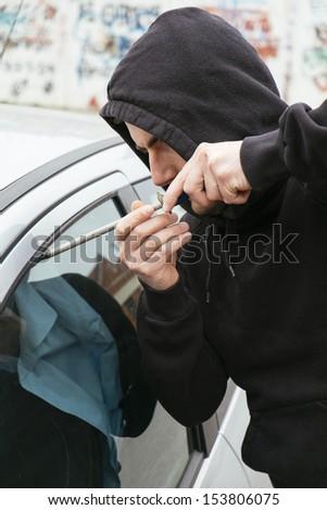 car theft portrait - stock photo