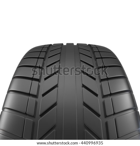 Car tire close-up, on white background. 3d illustration - stock photo