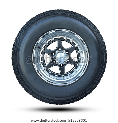 Car tire isolated on white background. This has clipping path.