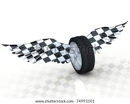 Car tire wheel with wings.