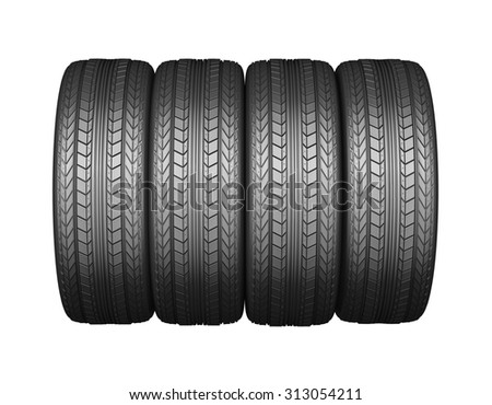 Car tire with protector, isolated on white background - stock photo