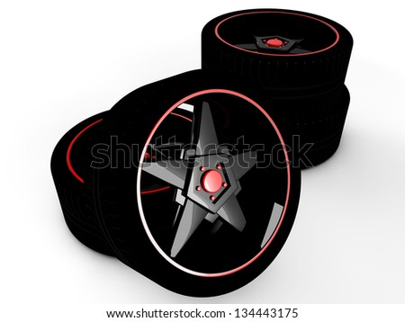 Car tire with rim on a white background - stock photo
