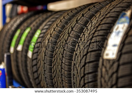 car tires at warehouse in tire store