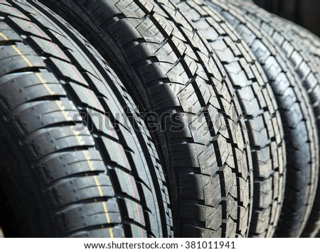Car tires background. Selective focus.