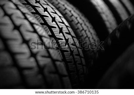 Car tires background - selective focus