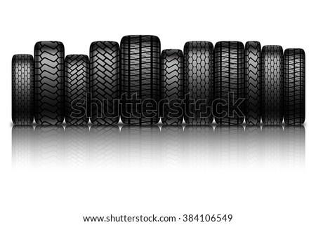 Car tires isolated on white background. illustration. - stock photo
