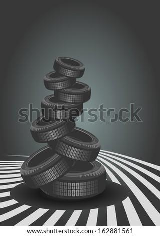 Car Tires On Black Background - stock photo