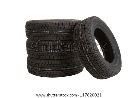 car tires on white background, cut out - stock photo