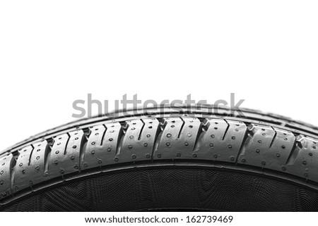 Car tires wheel profile on white background - stock photo
