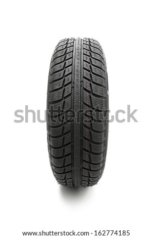 Car tires Winter wheel profile structure on white background - stock photo
