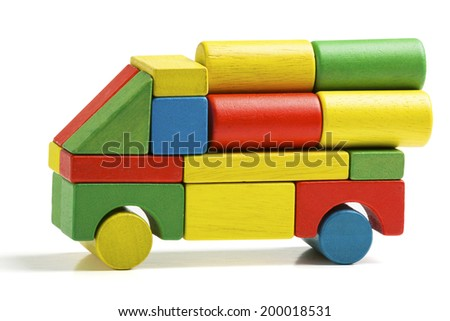 car toy blocks, multicolor truck wooden freight transportation, cargo delivery, isolated white background - stock photo