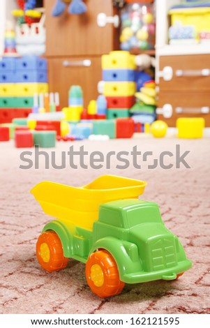 car toy on room for children - stock photo