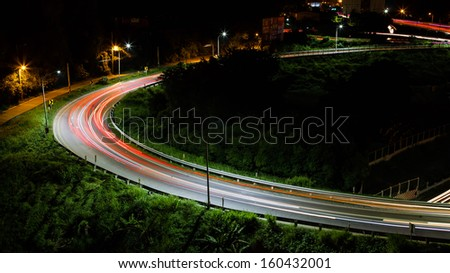 Car track in curve - stock photo