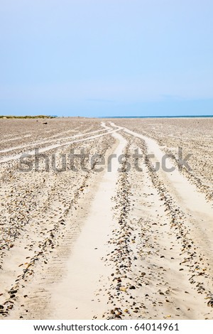 Car tracks in the sand at the beach - stock photo