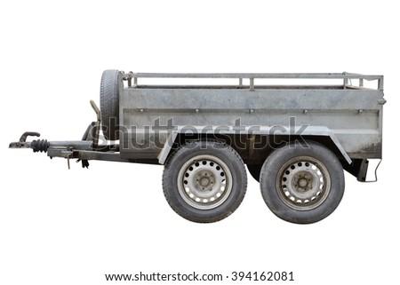 Car trailer isolated on white background - stock photo