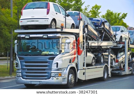 car transport truck - stock photo