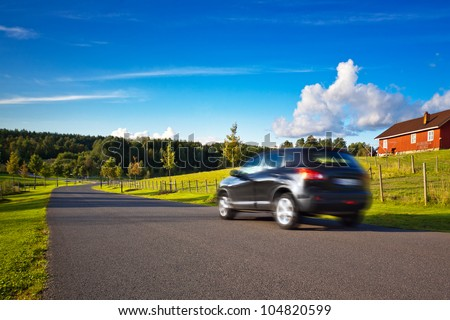 Car travel. Norway summer landscape. - stock photo