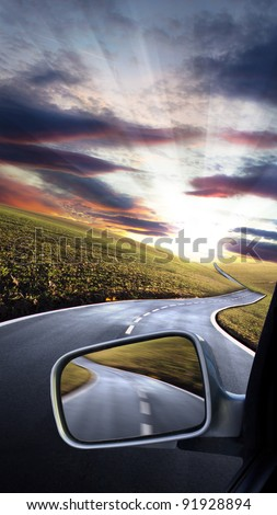 Car trip - stock photo